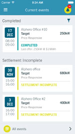 Demand response app events screen