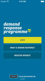 Demand response app home screenshot